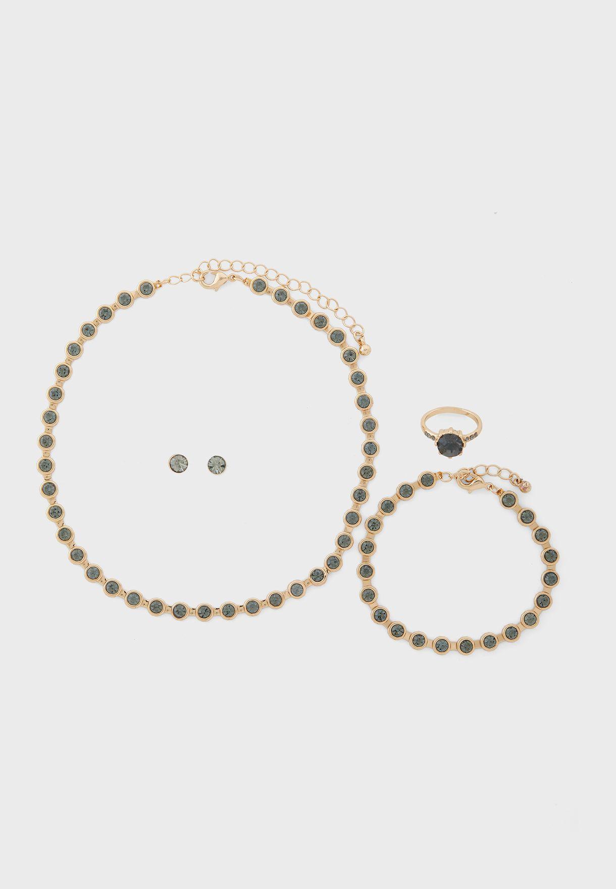Circle Stone Neck, Earring, Bracelet And Ring Set