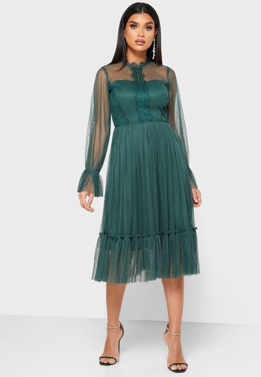 Pleated Mesh Dress