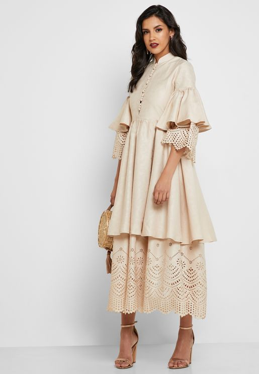 Double-Layered Laser Hem Dress