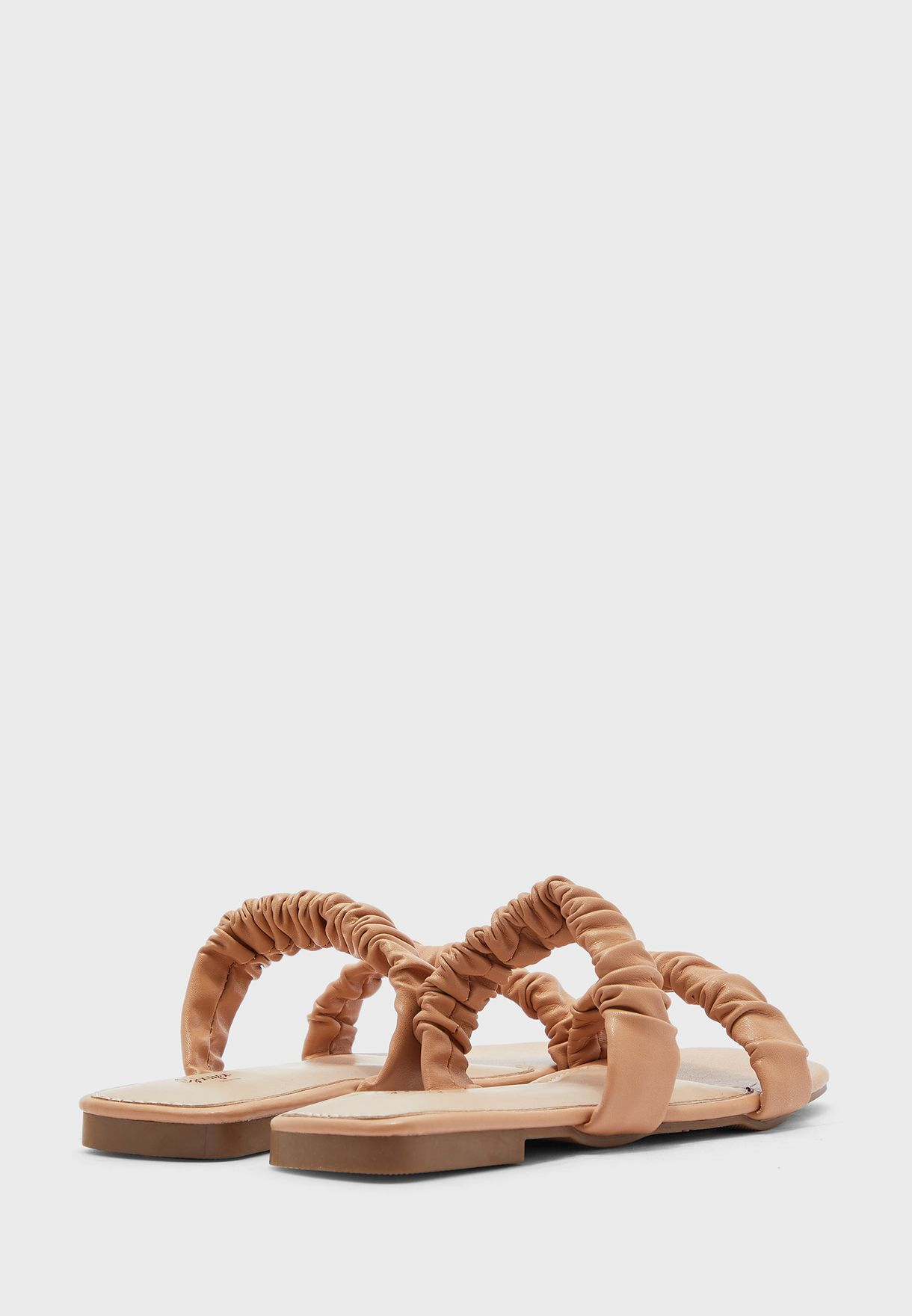 Ruched Double Strap Flat Sandal