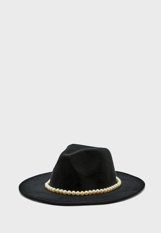 Felt Fedora Hat with Pearl Band