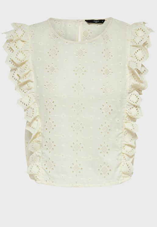 Broiderie Frill Top
