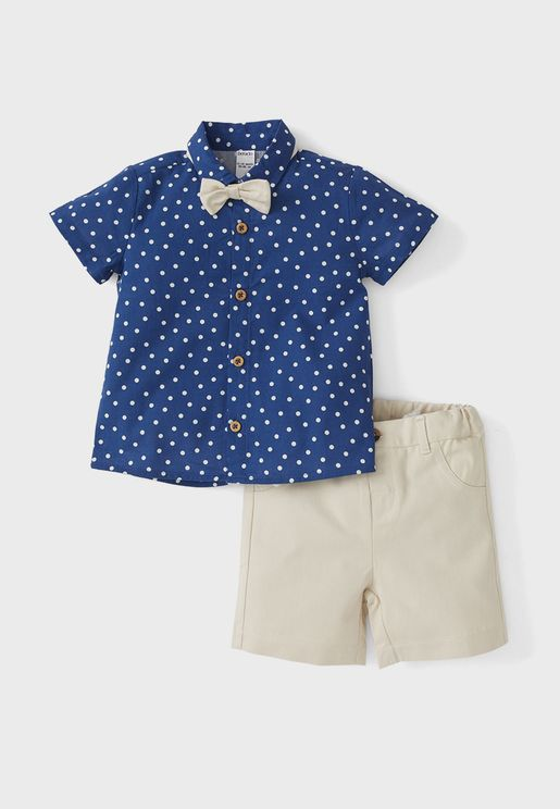 Infant Dot Print Shirt + Shorts Set With Bow Tie