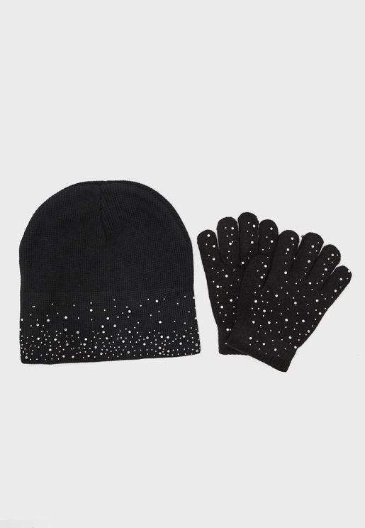 Beanie Hat And Gloves Set With Diamantes
