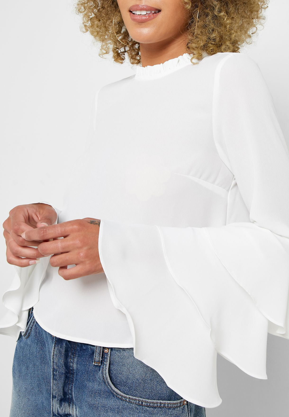 High Neck Layered Sleeve Top