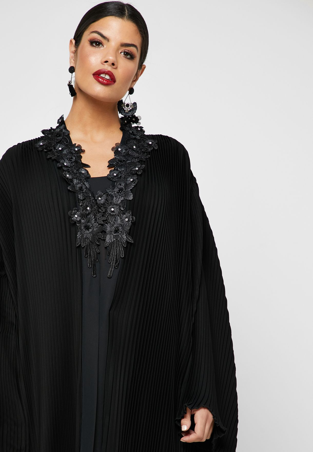 Pleated Layered Abaya