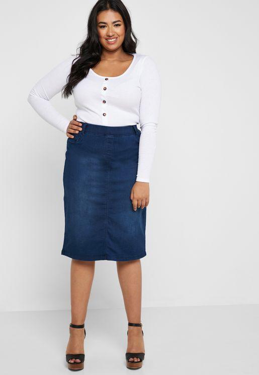 Denim Tube Skirt