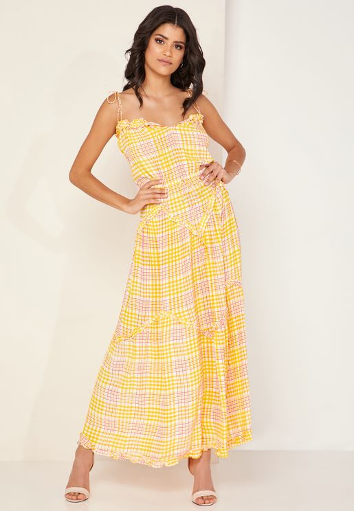 Magic Checked Frill Hem Maxi Dress