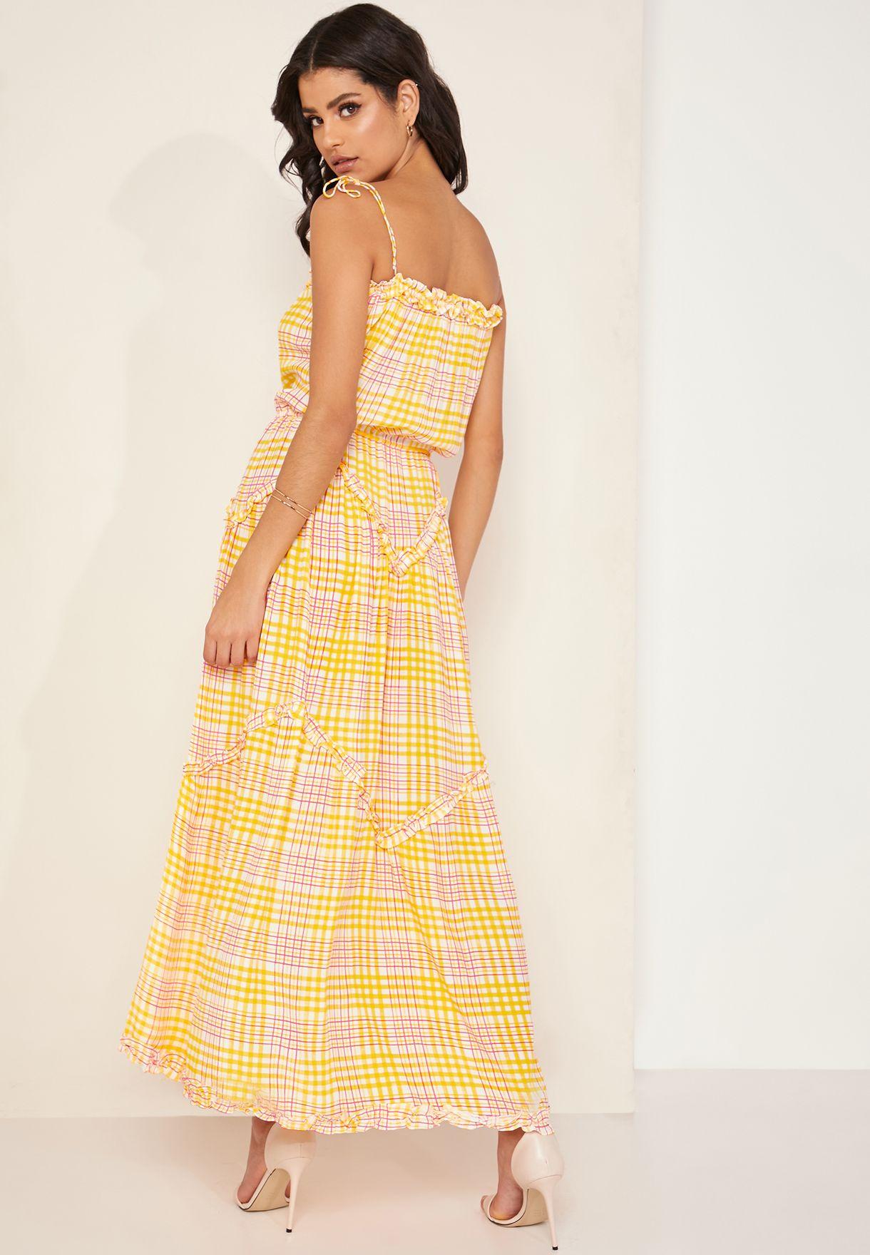 فستان مكسي بحمالات