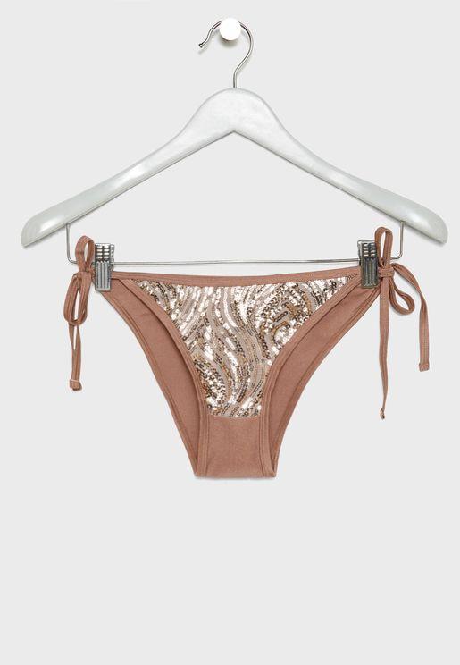 Tie Side Shimmer Bikini Bottom
