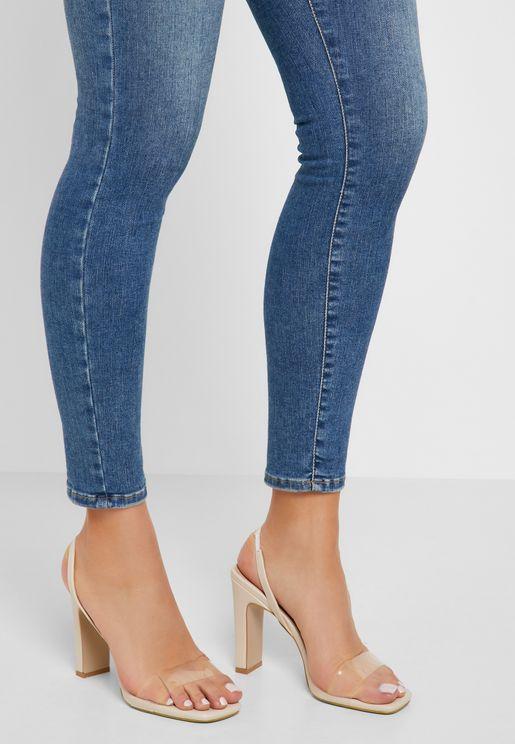 Block Heel Sandal - Skin