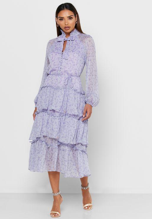 Throne Tie Neck Layered Printed Dress