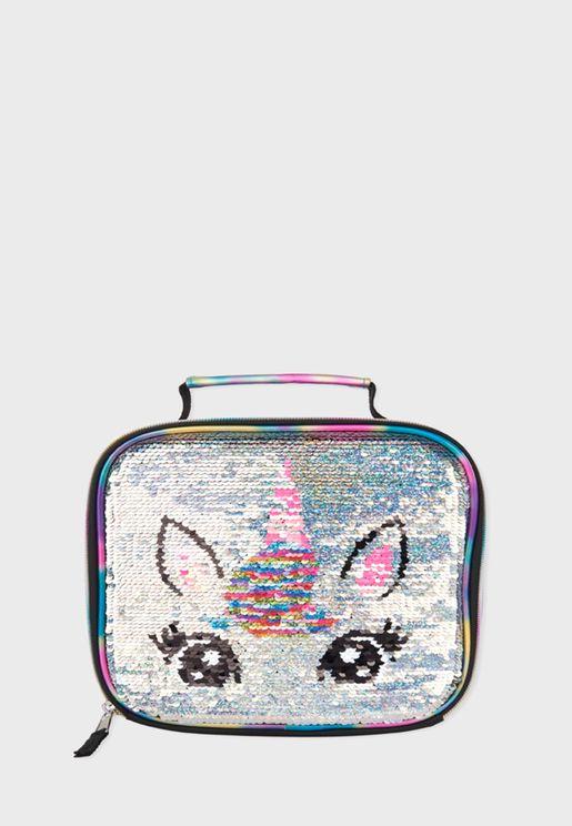 Unicorn Flip Sequin Lunch Bag
