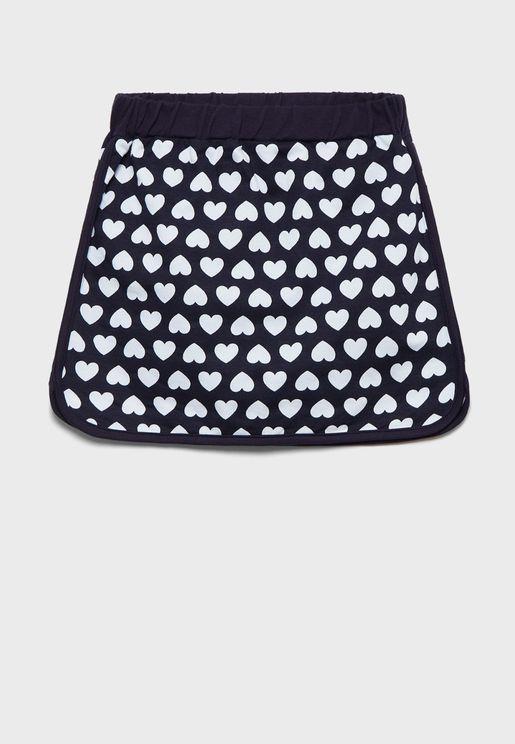 Kids Heart Print Skirt