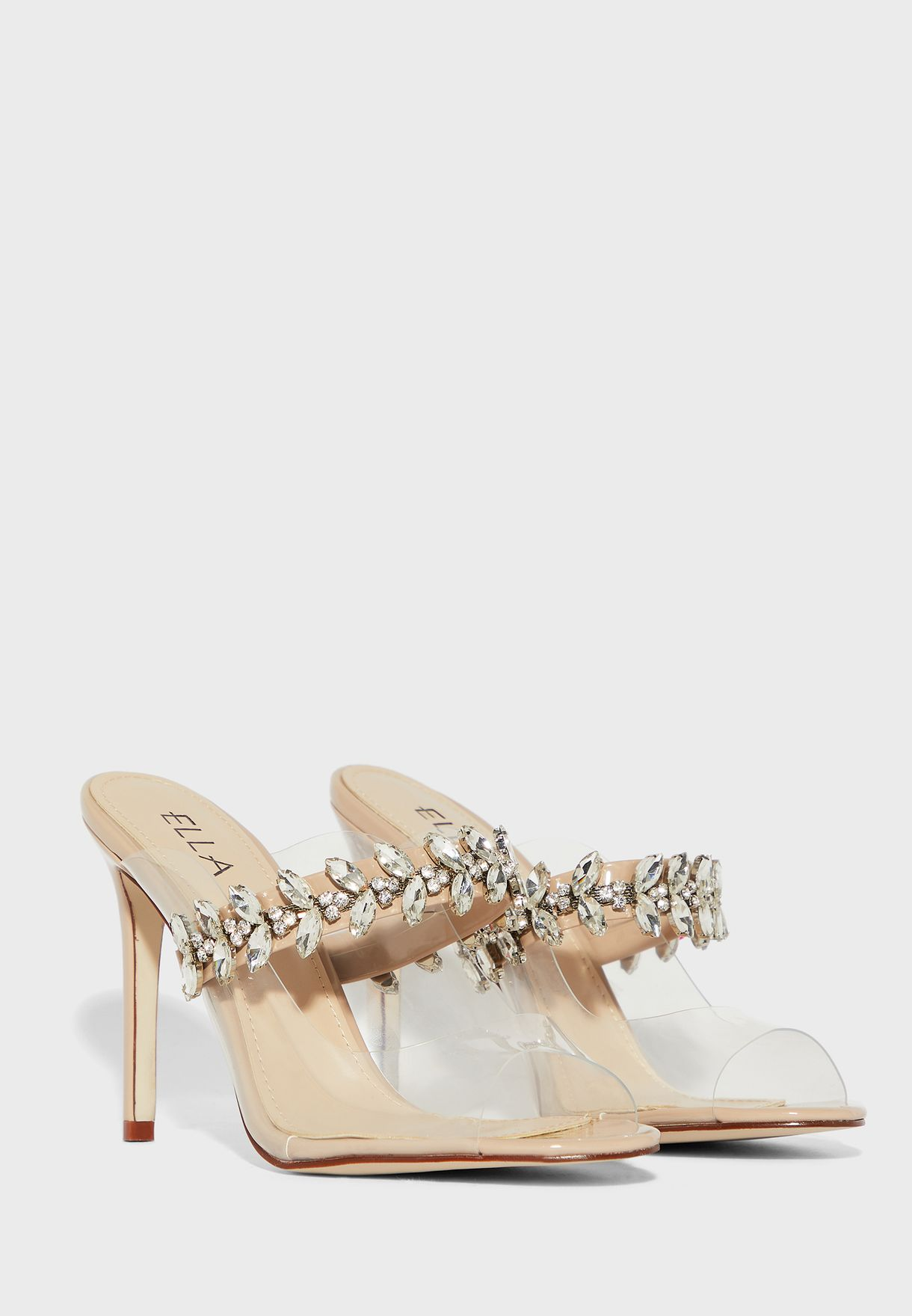 Clear peeptoe sandal with diamante band