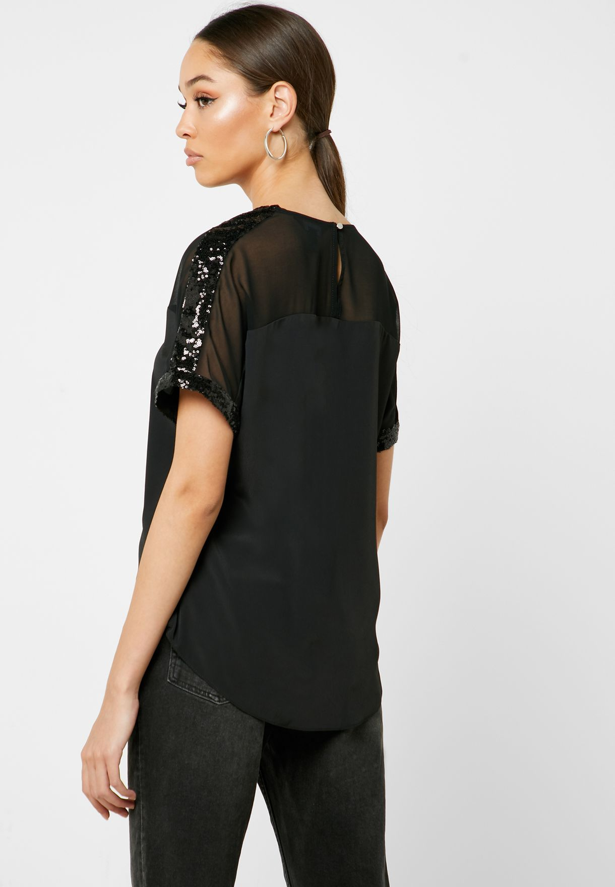 Sequin Trim Sheer Top