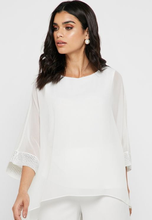 Embellished Cuff Layered Top