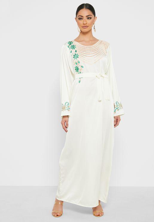 Belted Embroidered Jalabiya