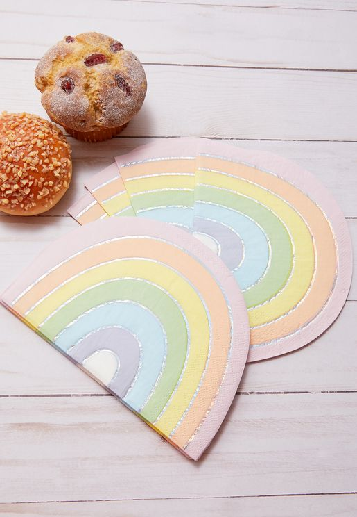 Pastel Rainbow Napkins 16 Pack