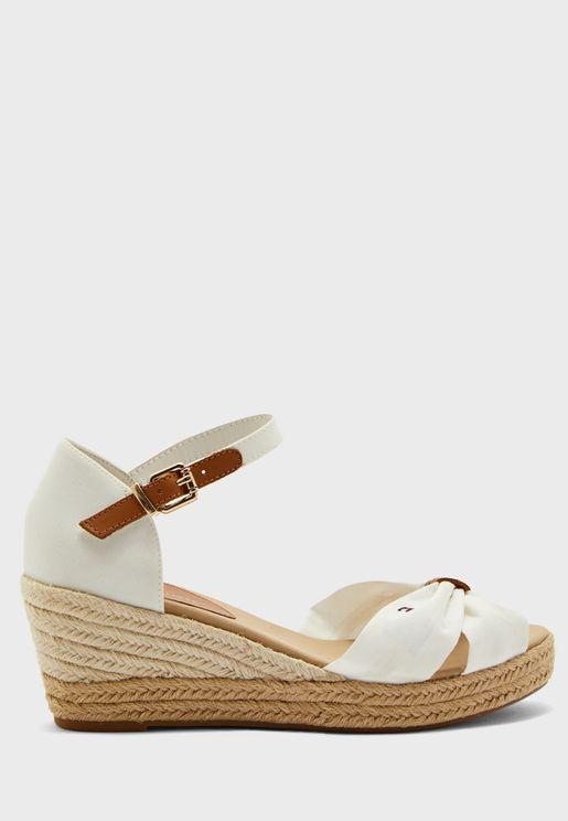 Basic Opened Toe Mid Heel Wedge Sandal - YBI