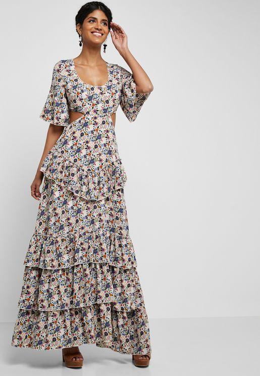 Open Back Printed Ruffle Dress