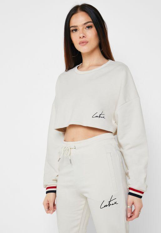 Jaquard Cropped Sweatshirt