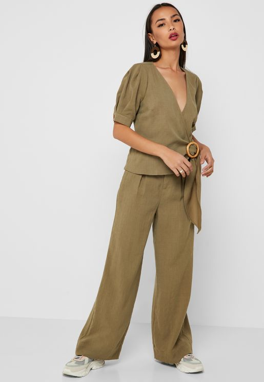Belted Wide Leg Linen Pants