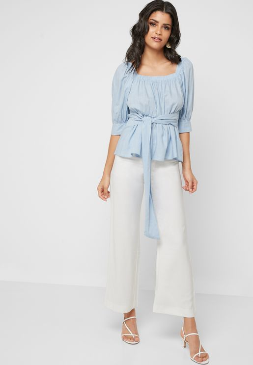 Checked Belted Wide Leg Pants