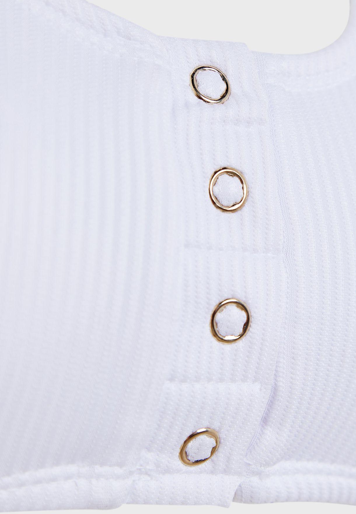 Wide Strap Button Down Bikini Top