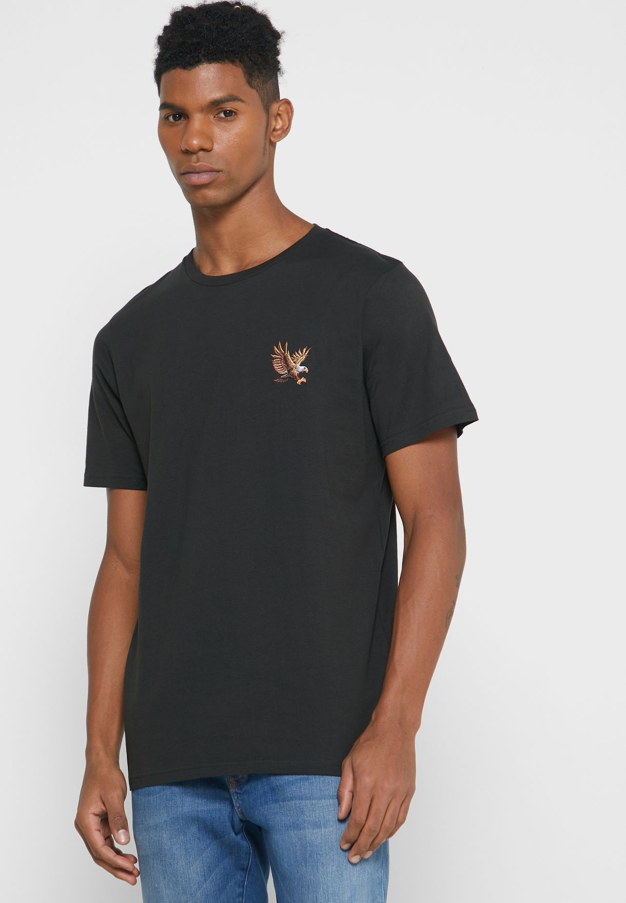 Embroidered Flying Eagle Crew Neck T-Shirt