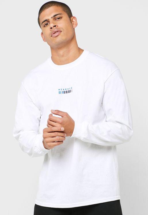 Barcode Print Crew Neck T-Shirt