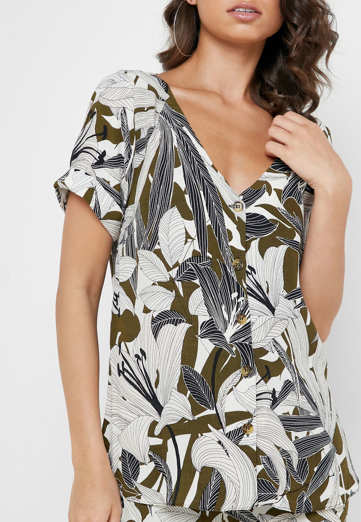 Button Down Leaf Print Top