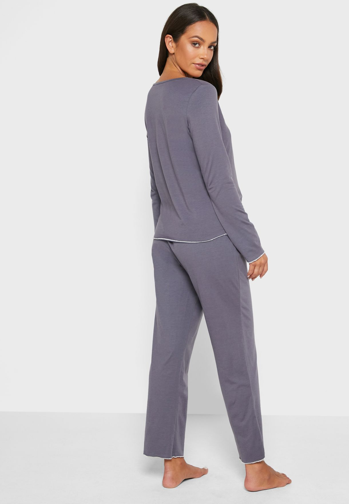 Pipped Hem Pyjama Set