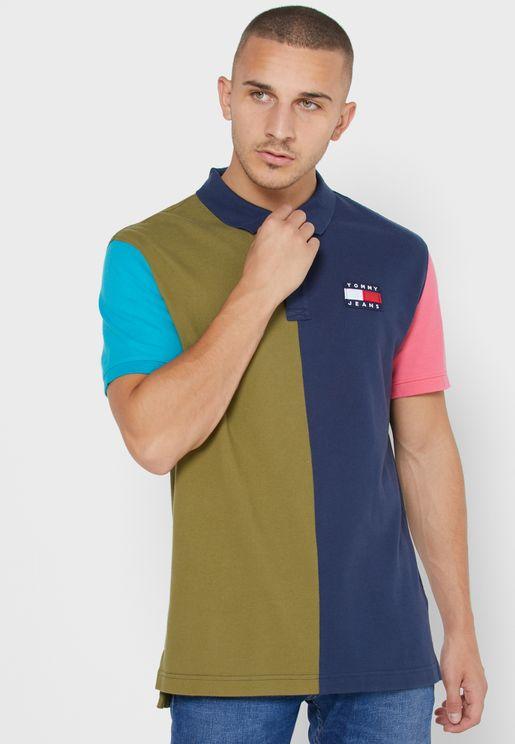 Color Block Badge Polo