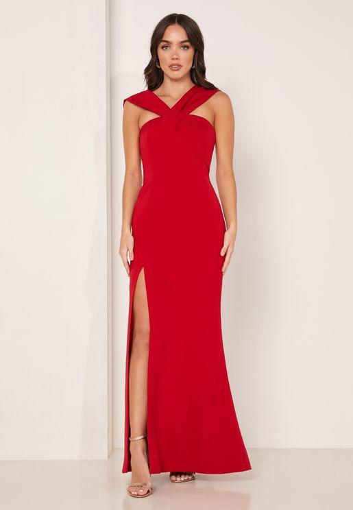 Caliber Side Split One Shoulder Dress