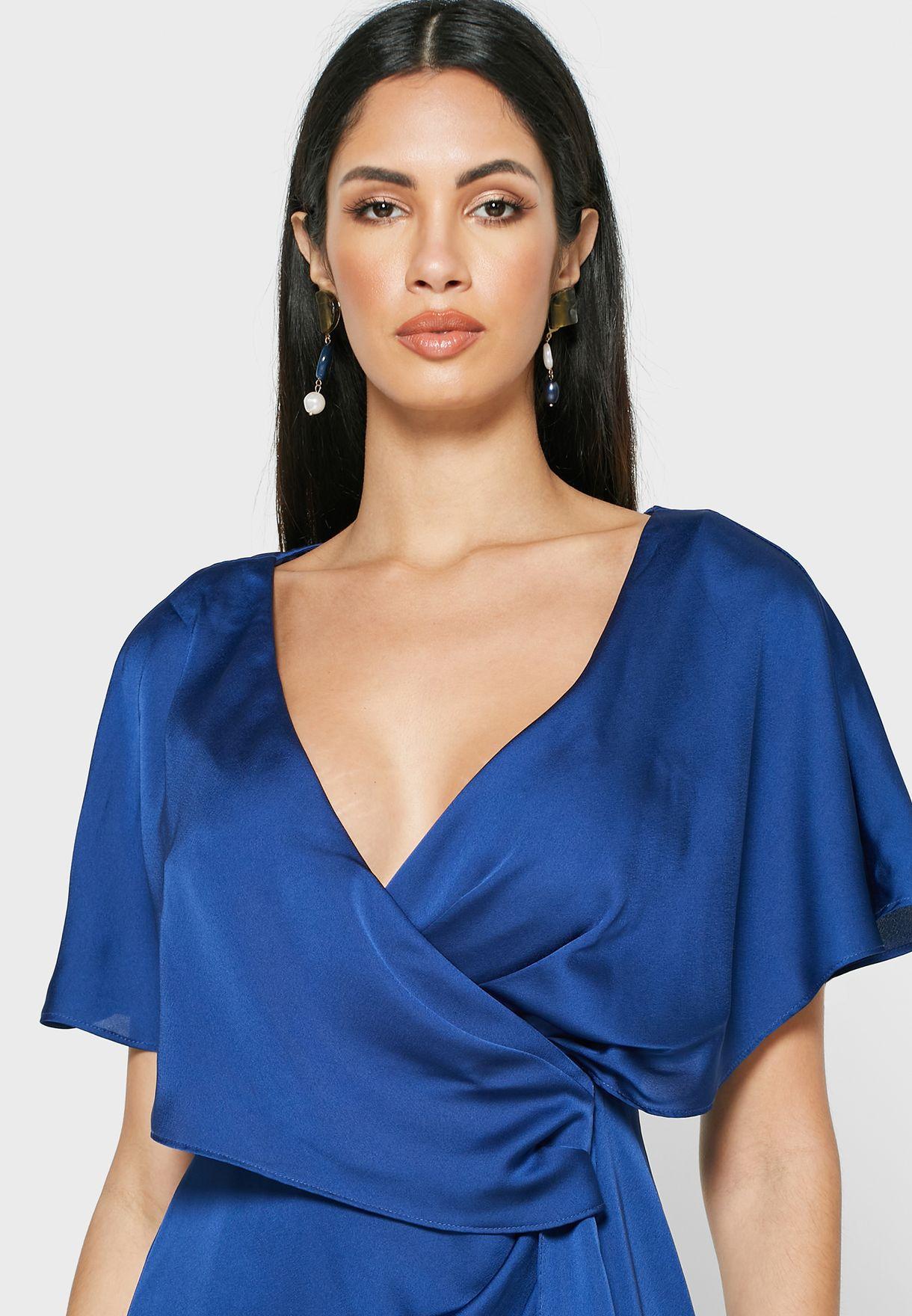 Plunge Front Split Dress