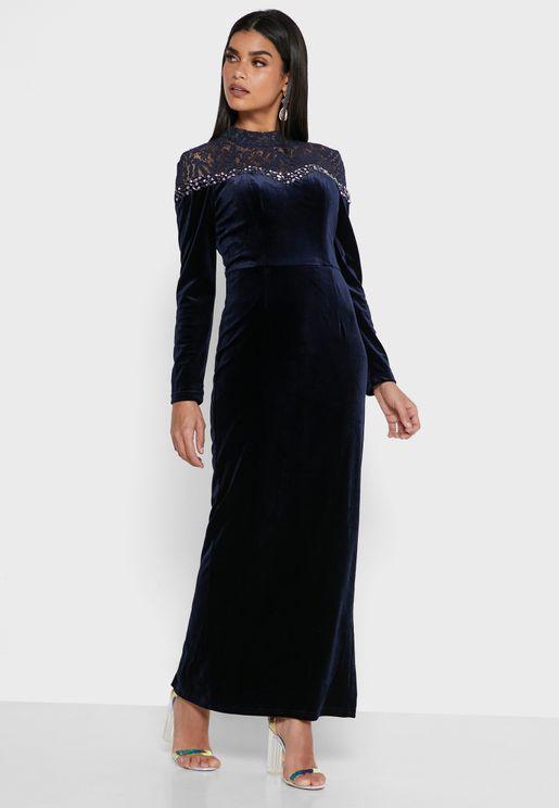 High Neck Embellished Detail Dress