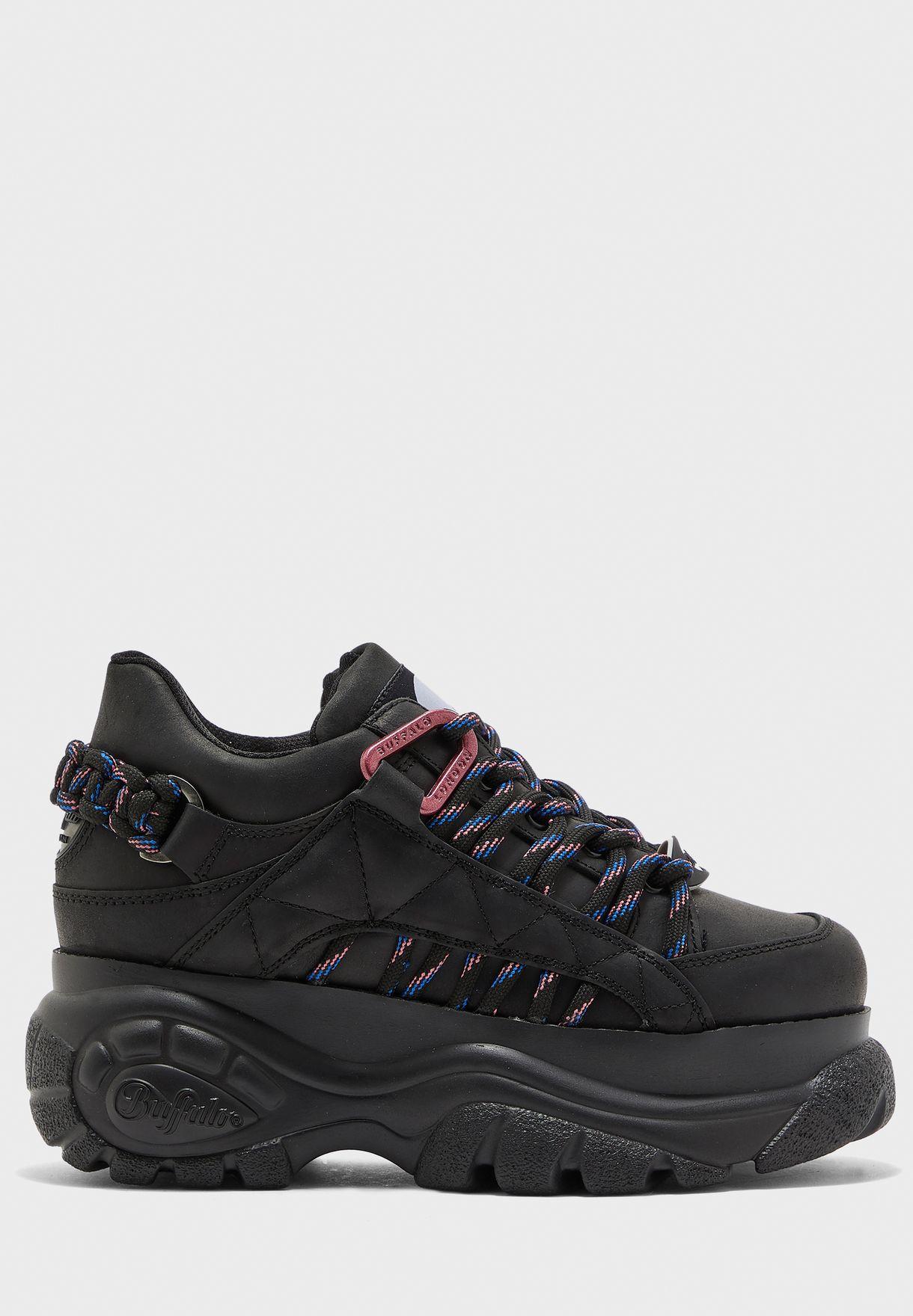 release info on order online utterly stylish Shop Buffalo London black Buffalo Classic Chunky Platform Leather ...