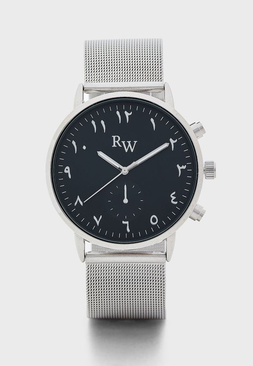 Arabic Numbers Mesh Strap Watch