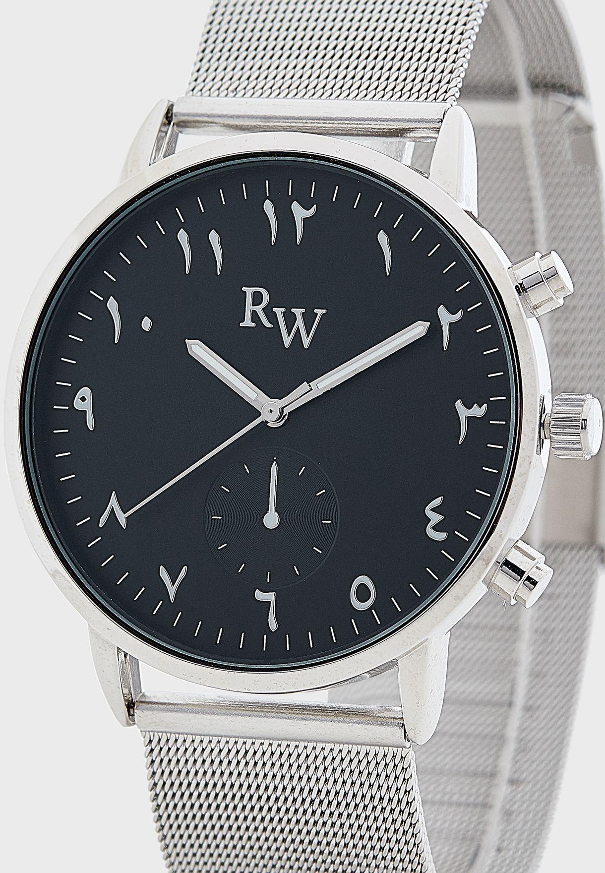 ساعة انالوج بأرقام عربية