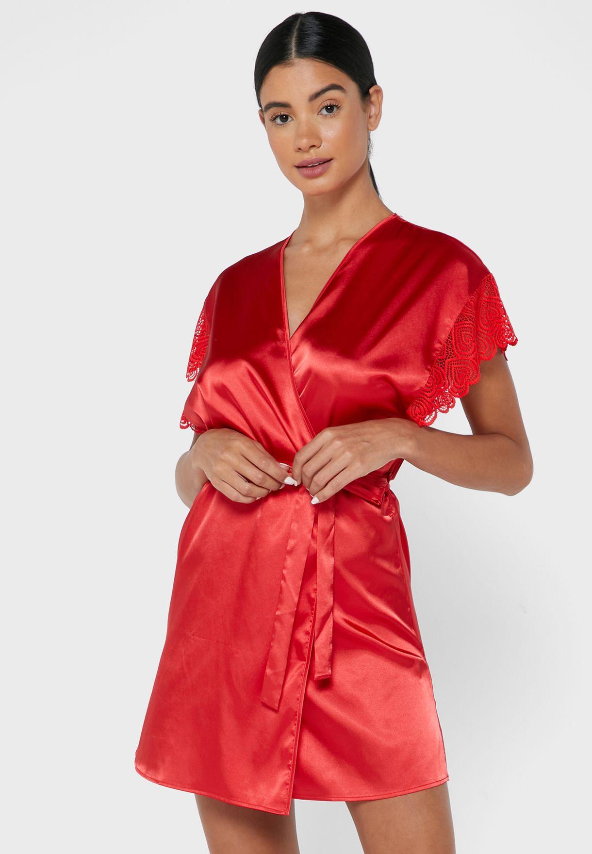 Lace Trim Satin Kimono