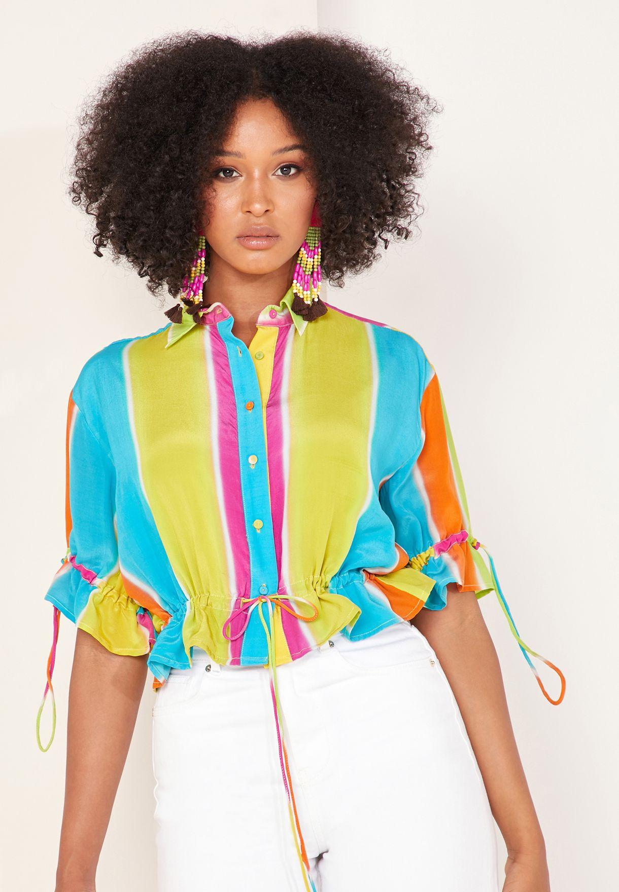Mimi Striped Crop Drawstring Shirt