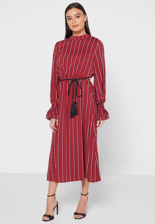 Striped Ruffle Cuffed Maxi Dress