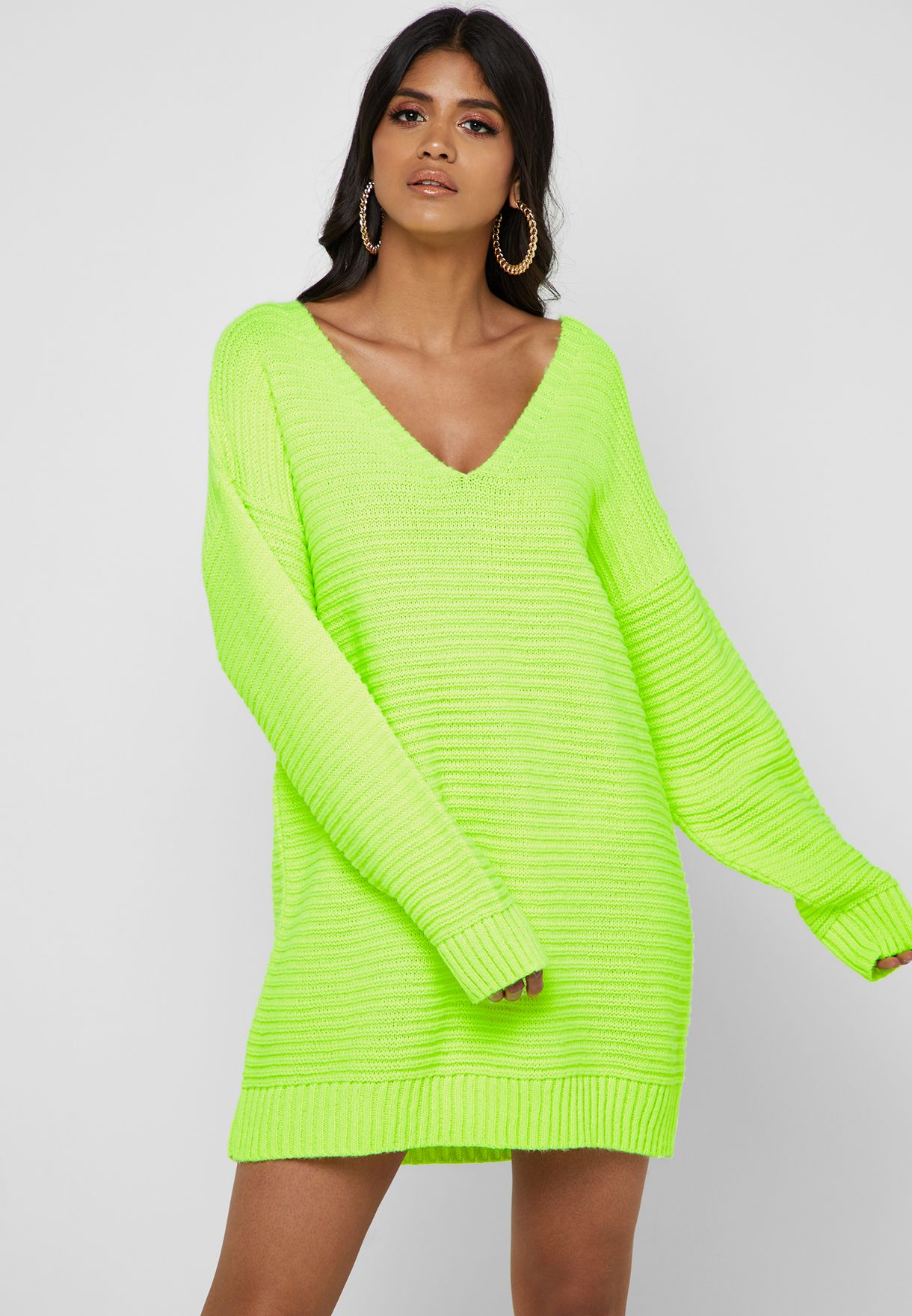 134c6405cf9 Shop Missguided green Ribbed Sweater Dress K2229938 for Women in Qatar -  16640AT91JBP