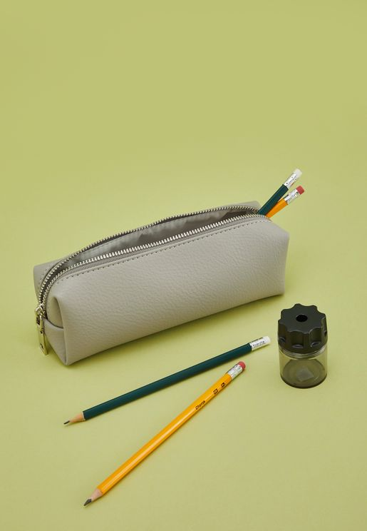 Grey Leatherette Pencil Case