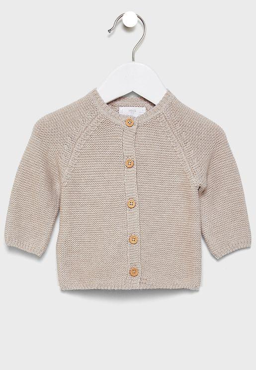Kids Button Detail Cardigan
