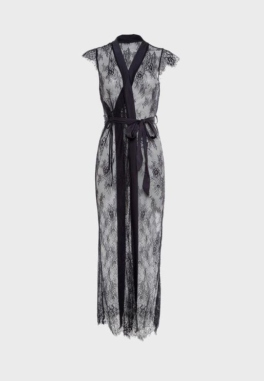 Tie Waist Lace Robe