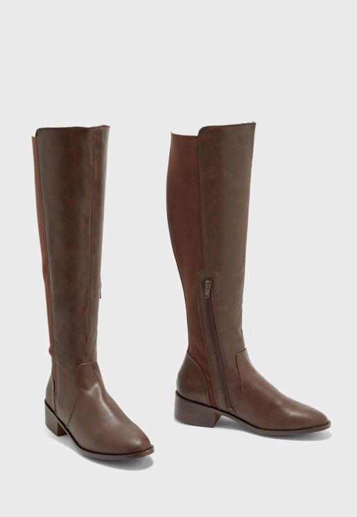 Angelina Rubber Detail Knee Boot