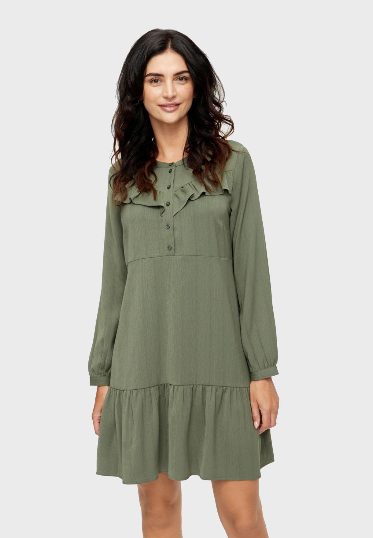 Button Detail Tiered Hem Dress