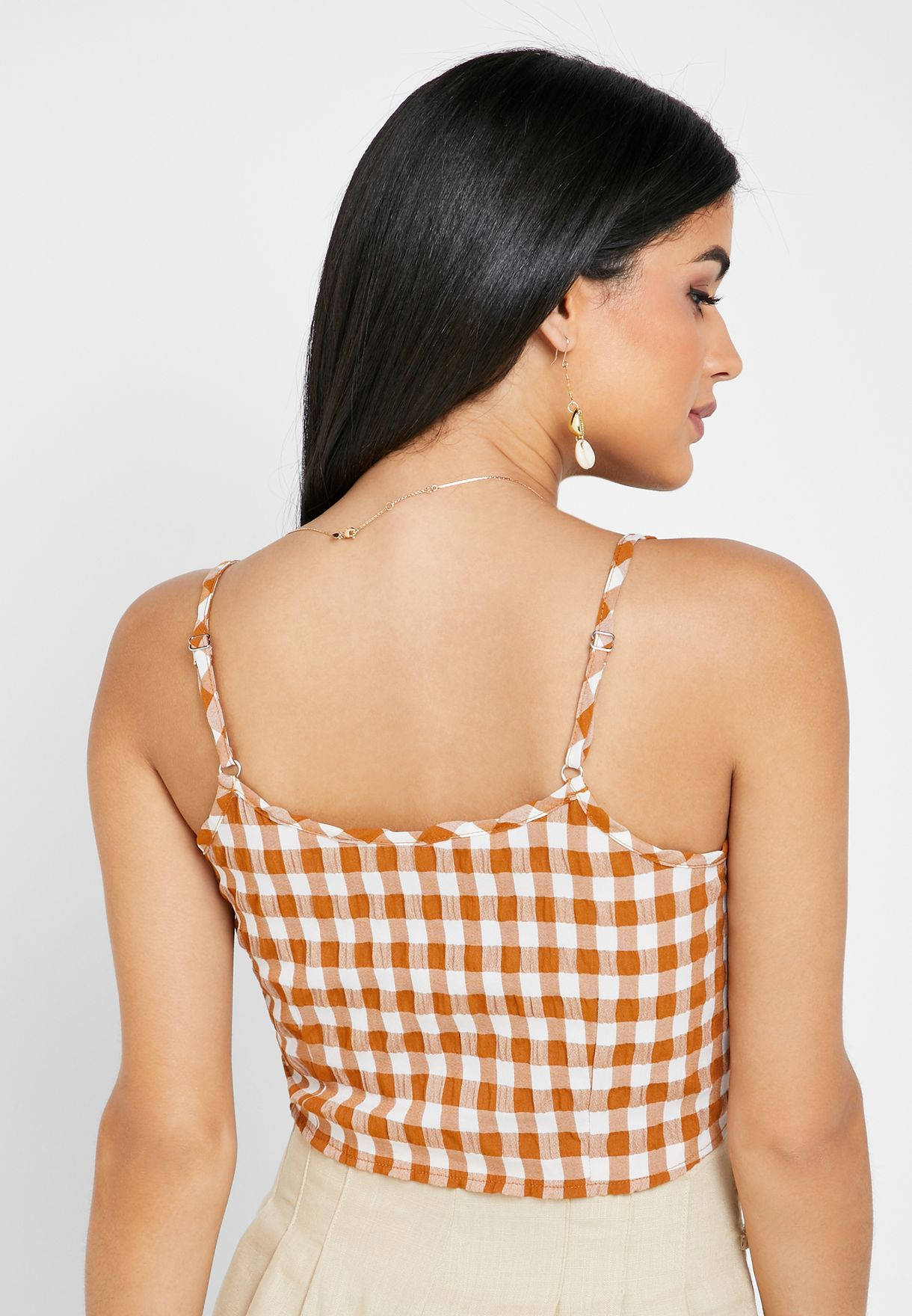 Checked Cami Front Tie Top